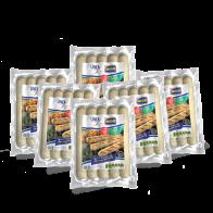 Salchicha de pechuga de pollo Jumbo.  Bolsa con 6 paquetes de 1lb c/u